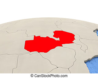 Zambia on globe with watery seas - Zambia highlighted in red...