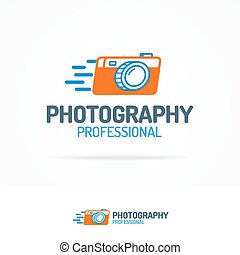 Photography logo set with photocamera color modern style for...