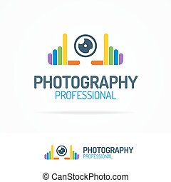 Photography logo set with colorful hands and lens color...