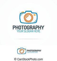 Photography logo set with colorful photocamera color style...