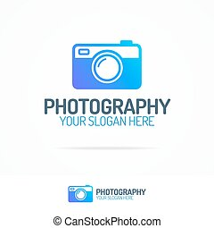 Photography logo set with colorful photocamera modern style...
