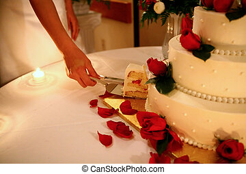 Cutting the Cake - High ISO Image of Bride Cutting Cake:...