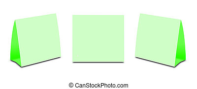 Blank Green Table Tent on white. Paper vertical cards...