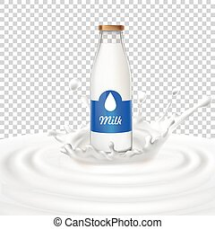 Vector illustration of a glass bottle with milk standing in the center of a dairy splash.