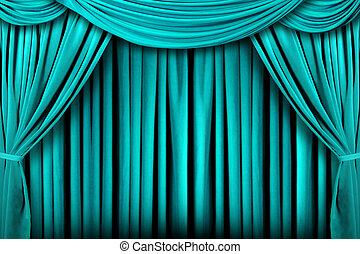 Abstract Teal Theatre Stage Drape Background - Beautiful...