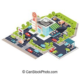 Vector isometric illustration of a modern Italian fast food restaurant with parking and gas station.