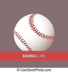 Close up baseball ball with place for text
