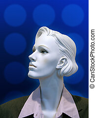 Business Mannequin with blue background