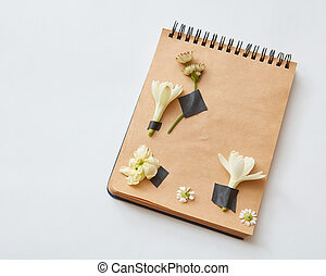 Herbarium on paper - Notebook with pencil may be used for...