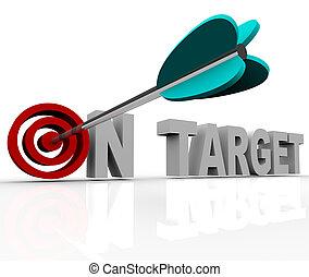 On Target - Arrow on Bulls-Eye - An arrow hits a bullseye in...