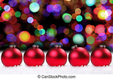Shiny Red Christmas Bulbs and Pretty Lights - Red Christmas...