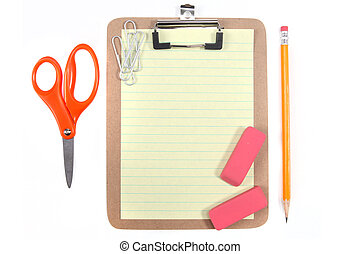 Yellow Lined Paper and School Office Supplies - Clipboard...