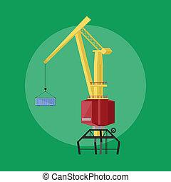 Dockside crane icon - Dockside crane isolated raster icon...