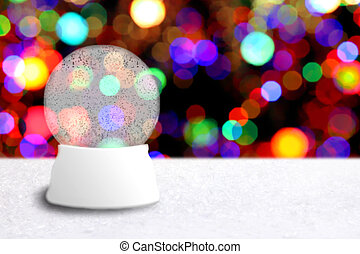 Empty Christmas Snow Globe With Holiday Background. Insert...