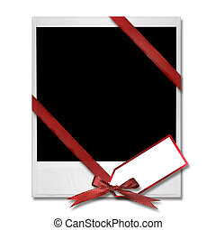 Film Blank With Christmas Bow and Gift Tag - High Resolution...