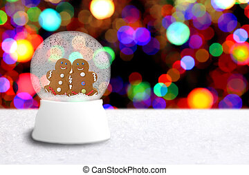 Snow Globe With Gingerbread Man Couple - Christmas Snow...