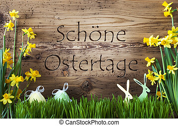 Egg And Bunny, Gras, Schoene Ostertage Means Happy Easter -...