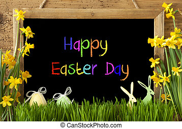 Narcissus, Egg, Bunny, Colorful Text Happy Easter Day -...