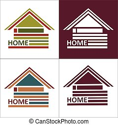 Real estate symbols - roofs of houses and buildings, such a logo