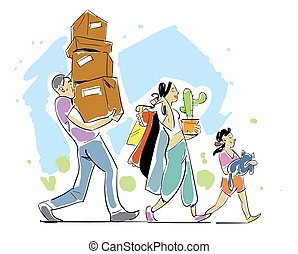 Family moving home concept illustration