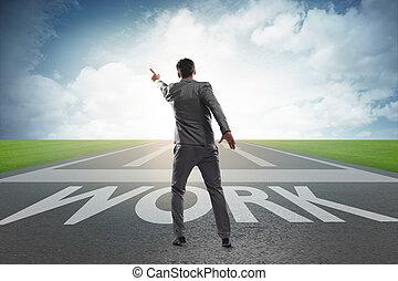 Businessman walking towards his career aspirations