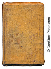 Old book - stained, leather front-cover of an old book -...