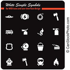 fire brigade icon set - fire brigade vector icons for user...