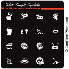 car washer icon set - car washer vector icons for user...