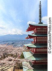 Fuji, chureito, pagoda, pagoda, atrás, mt, visto, o, rojo...