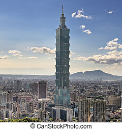 Skyscraper in Taipei, cityscape in day in Taiwan