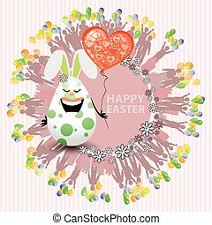 Easterly happy egg sweet girl with a balloon