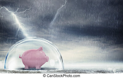 Protect gains from the crisis - Piggybank safely inside a...