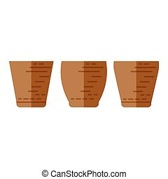 Simple vector icon of flower pot. Different forms.