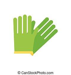 Simple vector icon of garden gloves. Green color.