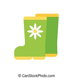 Simple vector icon of gum boots. Green color.