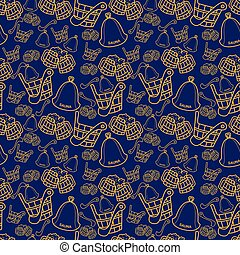 Seamless pattern with sauna wooden scoop, bucket and hat on...