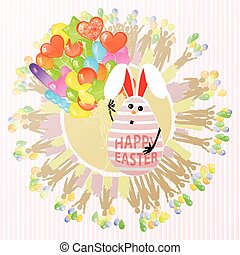 Easterly happy egg rabbit cute with balloons a lot