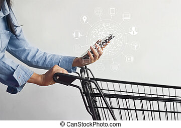 woman using mobile payments online shopping and icon...