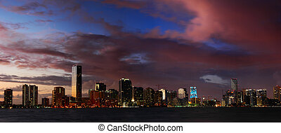 Miami Nights - Miami Skyline at dusk