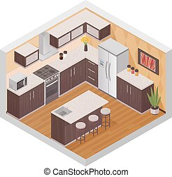Kitchen Modern Interior Isometric Composition - Kitchen...