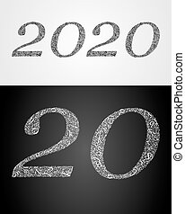 Abstract letters create texture for number. - 2020 year....