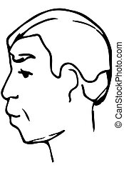 vector sketch of the face of an adult male - black and white...