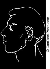 vector sketch of the face of a handsome young man - black...