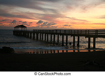 Beautiful Hanalei Bay Pier Sunset in Hawaii - Hanalei Bay...