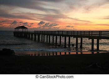 hermoso, Hanalei, bahía, muelle, ocaso, Hawai