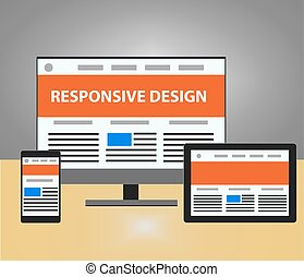 Responsive design vector illustration. Monitor , mobile...
