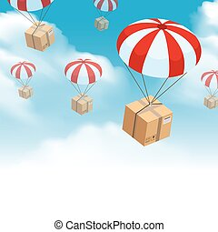 Parachute Parcel Delivery Composition - Parachute box...