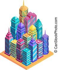 City Buildings Concept - City buildings concept with bright...