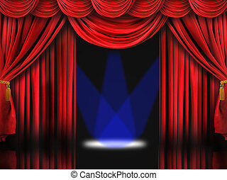Red Theater Stage With Blue Spot Lights