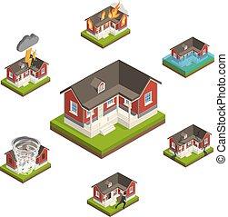 Household Insurance Isometric Set - House insurance...
